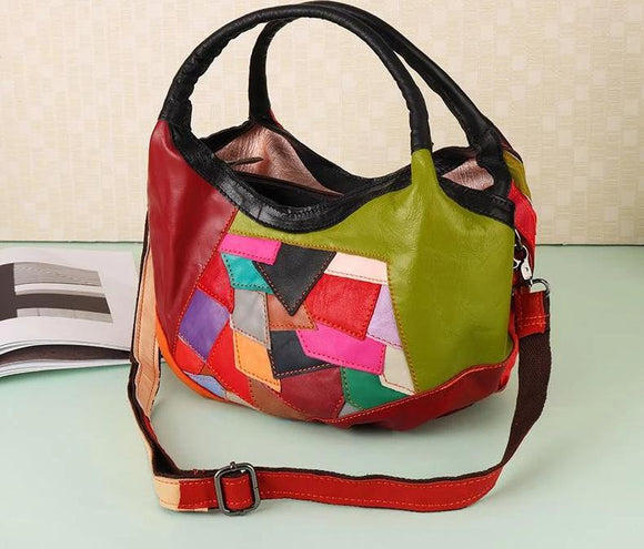 Hobo bag Women Bright Patchwork embroidered Genuine Leather Handbag Hobos Shoulder Bags Female Shopper Bag Lady Tote Random Colorful - zavitoro