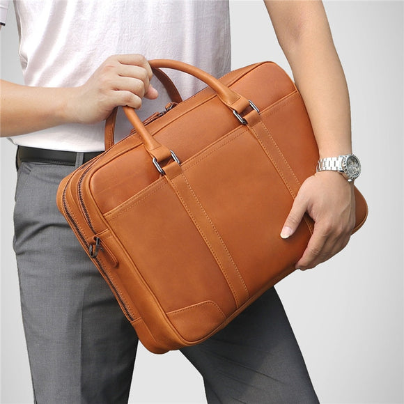 High Quality Black Brown Genuine Leather Men Briefcase 14'' Laptop Portfolio - zavitoro