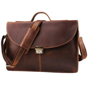 Crazy Horse Genuine Leather  high quality 15 inch laptop Briefcase - zavitoro