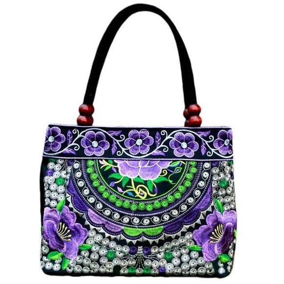 Embroidered Ethnic Style mini Tote bag Fashionable Handbag Retro Canvas Embroidery All-match Outdoor Personality Floral Women Storage Bags - zavitoro