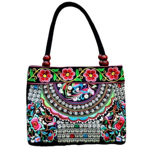 Embroidered Ethnic Style mini Tote bag Fashionable Handbag Retro Canvas Embroidery All-match Outdoor Personality Floral Women Storage Bags - zavitoro.myshopify.com