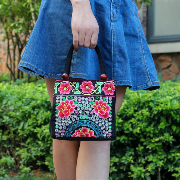 Embroidery Ethnic Style mini Tote messenger Bag All-match Floral Two Zipper Hand Bags Purse Embroidered Fashion Handbag Retro Vintage - zavitoro.myshopify.com