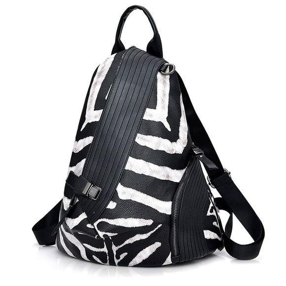 Backpack Fashion Antitheft  Women bags High Quality Leather Backpacks Female Shoulder Travel Bag Zebra Pattern Daily Bagpack Mochila - zavitoro