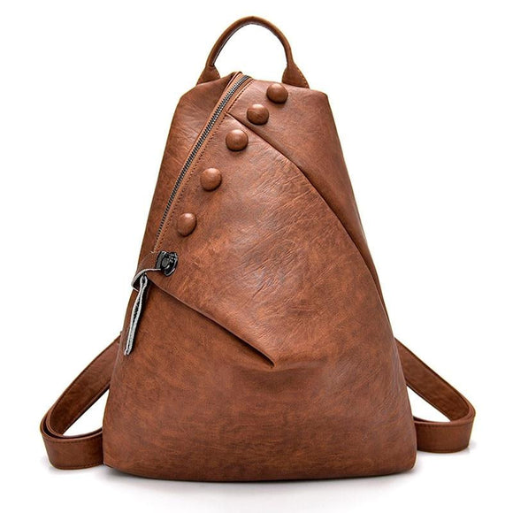 Backpack cylindrical genuine Soft smooth High Quality Leather Antitheft Backpack Female Soild Women Large Capacity Ladies Shoulder Women MultifunctionFemale School Travel Bags for Girls - zav
