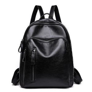 Bright finish smooth touch High Quality Soft Leather Backbag Large Capacity School Bag for Teenagers genuine leather - zavitoro