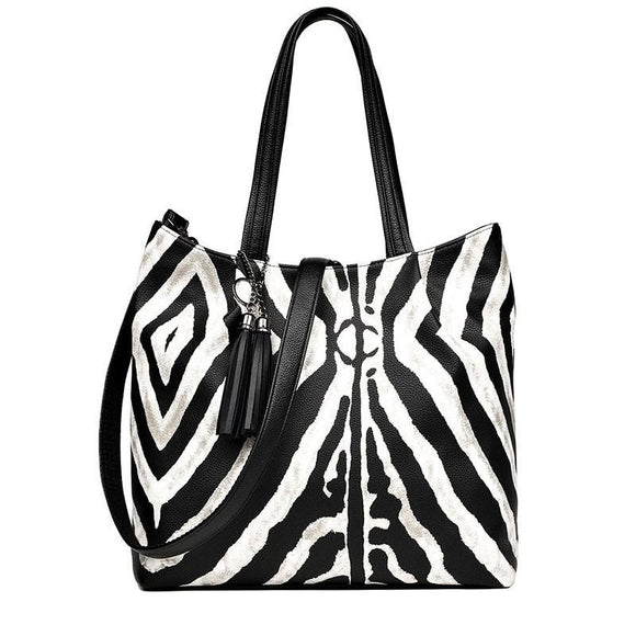 Tote bag Zebra Pattern Handbags Women Tassel Large Capacity Shoulder Bag Ladies New Messenger Bags casual - zavitoro