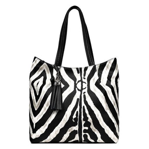 Tote bag Zebra Pattern Handbags Women Tassel Large Capacity Shoulder Bag Ladies New Messenger Bags casual - zavitoro.myshopify.com