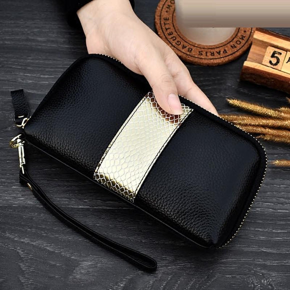 Long wallets Zipper wrist bag genuine cowhide leather ladies clutch purses panelled Women female Coin Purse Mobile phone bag - zavitoro.myshopify.com