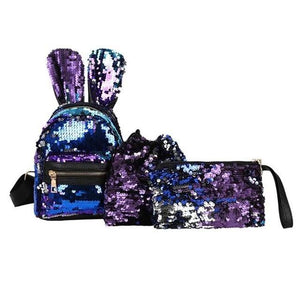 Girls backpack 1/3Pcs Set Sequins Backpack  Clutch Bags Shiny Composite Shoulder Bag Rabbit Ear Kids Mini Glitter Backpacks Evening - zavitoro