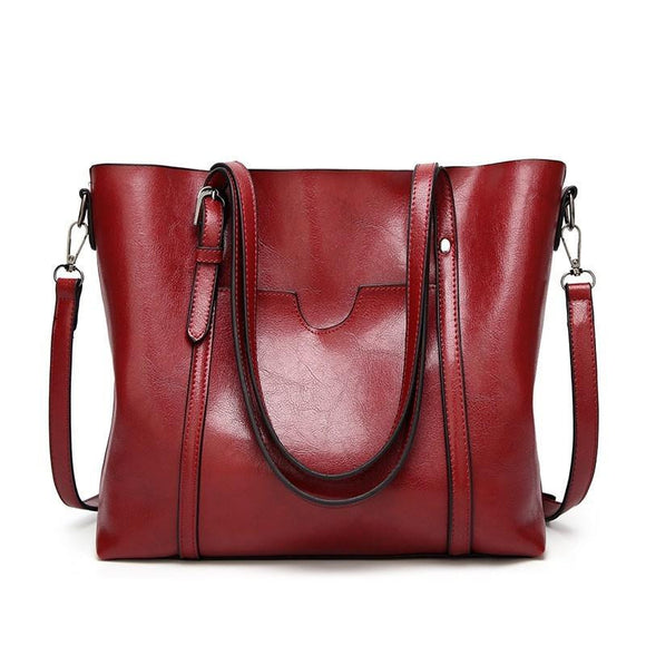 Tote bag fancy Oil wax Genuine premium quality cowhide leather Women shoulder bag in New female Korean fashion Crossbody handbag - zavitoro