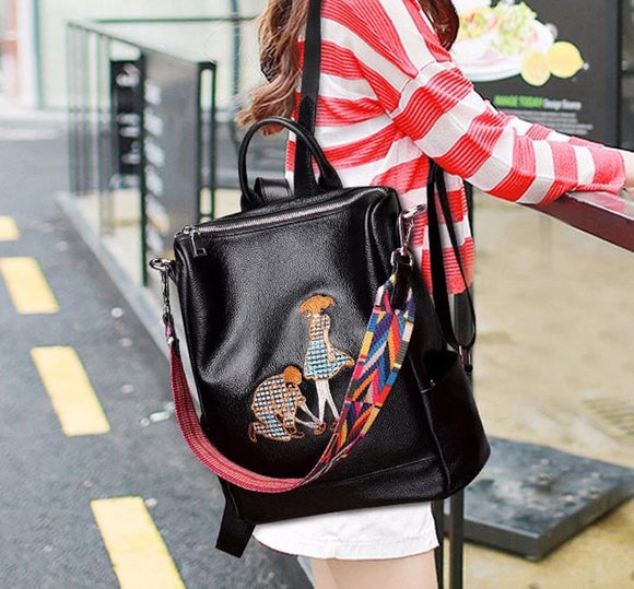 Backpack embroidery Women premium quality First layer cowhide simple suede female shoulder bag embroidered dual-use multi-purpose girl school backpacks - zavitoro.myshopify.com
