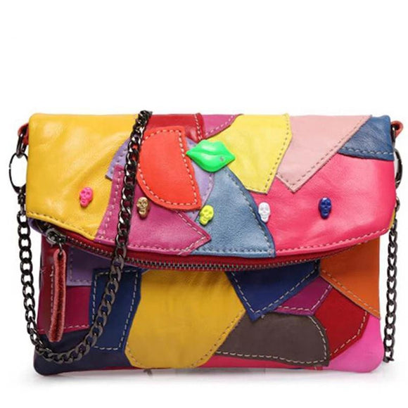 Messenger bag 2019 Women genuine leather clutch bag Chain stitching Panelled Patchwork ladies Lip skull crossbody bag WB077 - zavitoro.myshopify.com