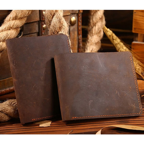Wallets for Men Vintage Men Crazy Horse Leather Bifold Wallet Genuine Leather Wallet Card Holder - zavitoro