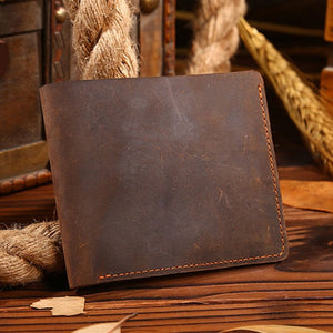 Wallets for Men Vintage Men Crazy Horse Leather Bifold Wallet Genuine Leather Wallet Card Holder - zavitoro.myshopify.com