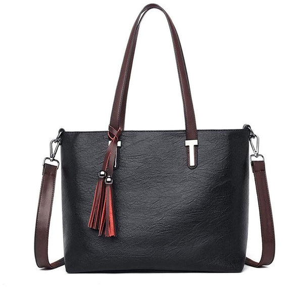 Tote bag luxury  High Quality Leather soft smooth bag Women Tassel Shoulder Bags Female Top-handle Bags Casual Tote Purse Black Shopping Bags - zavitoro.myshopify.com