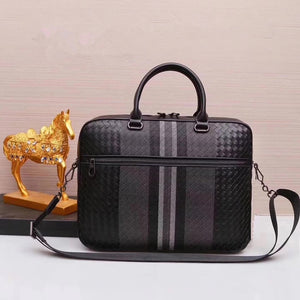 Genuine leather Men Briefcase with Knit Bi color high quality - zavitoro