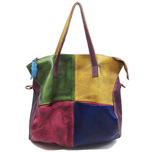 Tote bag colorfull Patchwork Genuine Leather Bag for Ladies Women young girls Vintage Retro Chic Big Capacity Handbag 2019 Fashion Designer Luxury Crossbody Bag for Women - zavitoro