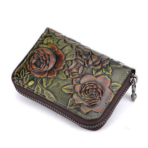 Bifold Short Wallet Clutch Money Bag Rose Embossed for Women in High quality Genuine Leather Zipper - zavitoro.myshopify.com