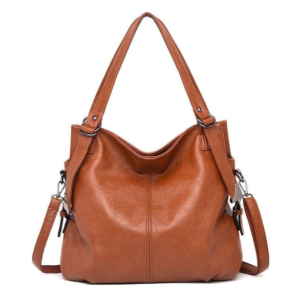 Hobo Handbag High Quality Waterproof genuine Leather Tote bag Female Solid Top-handle Bag Casual Tote Shopping Bag New - zavitoro
