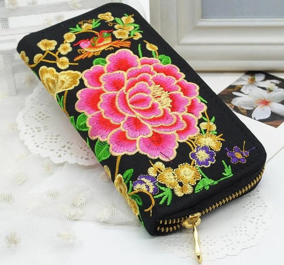 Long Wallet New Women Flower Embroidered Phone HandBag Card holder Zipper Purse Handmade Ethnic Embroidery Fashion - zavitoro