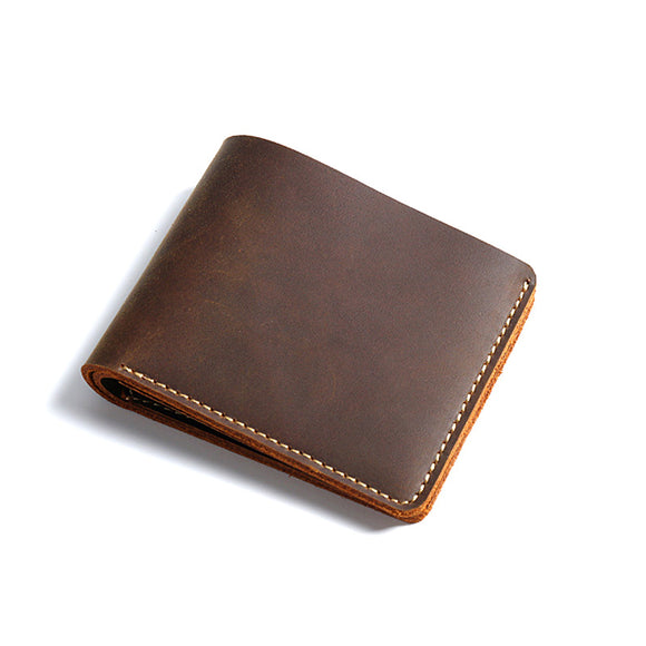 Wallet short men wallet genuine leather Small retro genuine cow leather Wallet Men Brief Designer Portomonee for men - zavitoro.myshopify.com
