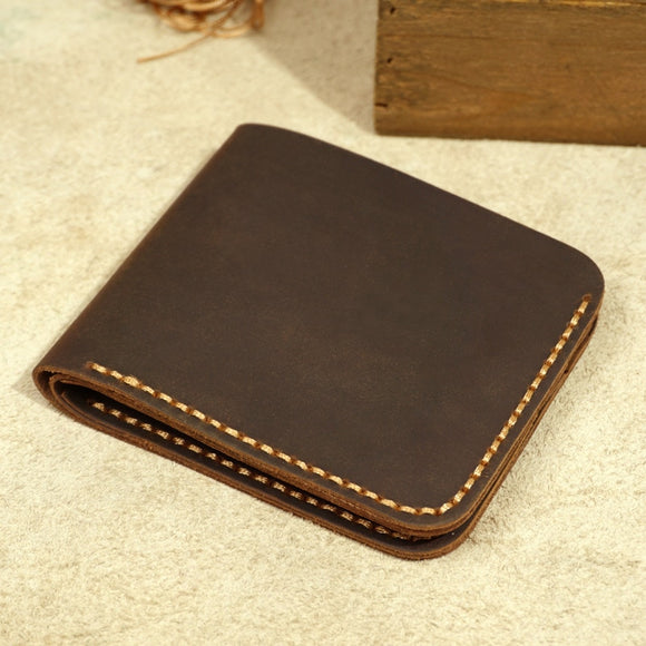 Handmade Wallet for Men Genuine Leather Men Wallet Retro Short Wallet Men Durable Real Leather portfel male breif cartera hombre - zavitoro