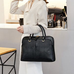 Business Briefcase Women genuine leather printed office Laptop bag - zavitoro