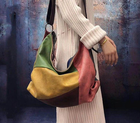 Hobo bag Patchwork big soft top quality Cowhide Leather Hobo Bag Women CasualSlouch Bag Female Fashion Shoulder Bag - zavitoro.myshopify.com