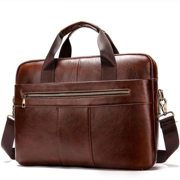 Men's briefcase bag men's genuine leather laptop bag business tote for document office portable laptop shoulder bag  8523 - zavitoro