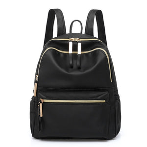 Waterproof Classic Oxford cloth women's backpack hot looking golden zipper black fashion large capacity shoulder bag - zavitoro