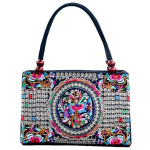 Satchel bag for Women Floral Ethnic Style Embroidered Fashion Handbag Canvas Shoulder Top-Handle Totes Outdoor Personality - zavitoro.myshopify.com