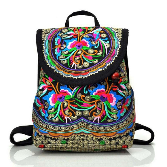 Backpack Embroidery vintage ethnic style backpack fashion flower backpack travel shoulder bag - zavitoro