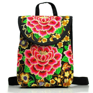 Backpack Embroidery vintage ethnic style backpack fashion flower backpack travel shoulder bag - zavitoro.myshopify.com