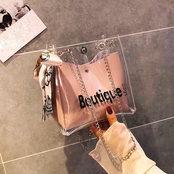 Womens Transparent handbag Shoulder Messenger Beach Bag Fashion Casual Shopping woman bag - zavitoro
