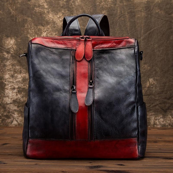 Backpack high quality cowhide genuine leather for Women Brush colored Vintage bag top handle Ladies Girls - zavitoro