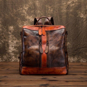 Backpack high quality cowhide genuine leather for Women Brush colored Vintage bag top handle Ladies Girls - zavitoro.myshopify.com