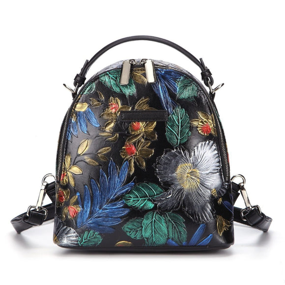 Backpack in Vintage floral style with rose flower embossed in premium quality real leather - zavitoro
