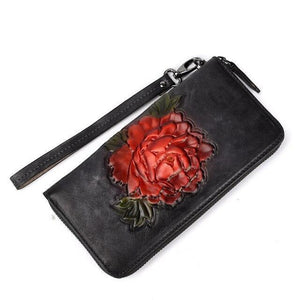 Long wallets Rose embossed High quality genuine leather Rose Embossed Brush colored Long Wallet for Women - zavitoro