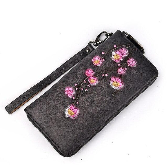 Long Wallet high quality Genuine Leather Luxury Plum Flower Retro Clutch - zavitoro.myshopify.com