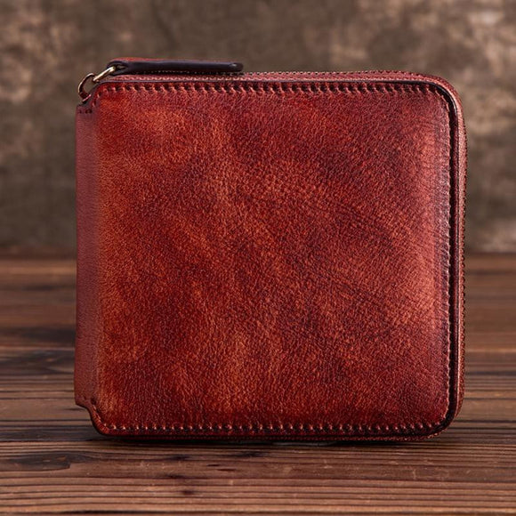 Brush painted high quality Wallet Men Women in high quality cowhide genuine leather - zavitoro