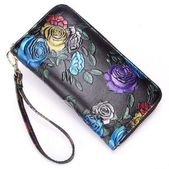High quality Genuine Leather flower printed Wallet - zavitoro.myshopify.com