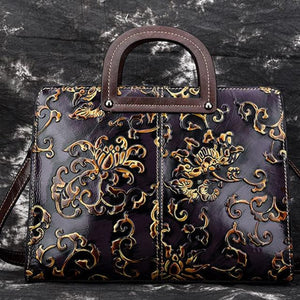 Embossed shell design High Quality First layer Real Cowhide Art n Craft  Women Genuine Leather Shoulder Top Handle Bag Handbag Vintage Briefcase Tote Female Bags - zavitoro.myshopify.com