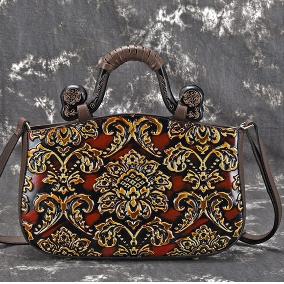 Satchel bag with queen style top handle ethnic Design Art embroidered Handbag in Genuine Leather - zavitoro