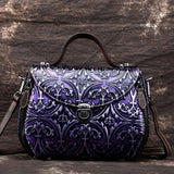 Satchel bag High grade floral art pattern top handle Ladies Women shell handbag in premium quality first layer cowhide leather - zavitoro