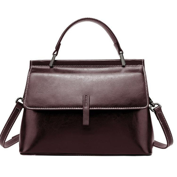Oil Waxed genuine leather Top Handle Handbag - zavitoro