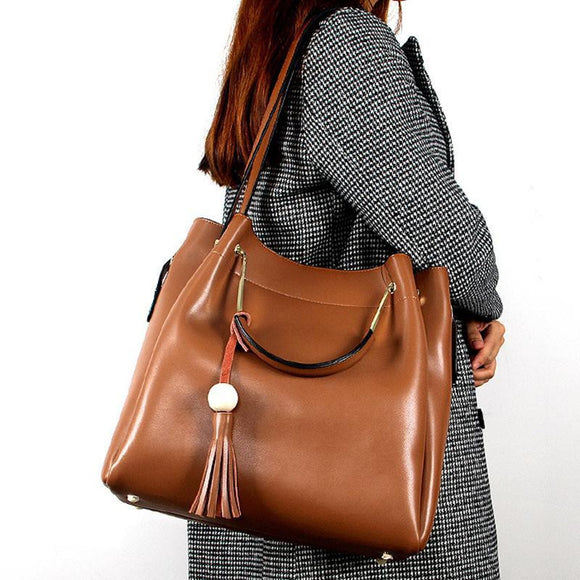 Tote bag with top handle shoulder strap in genuine cowhide leather large capacity - zavitoro.myshopify.com