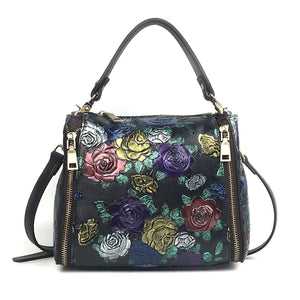 Satchel High Quality Genuine Leather Top Handle Bag Tote Handbag Luxury Floral Women Natural Skin Cross Body Messenger Shoulder Bags - zavitoro.myshopify.com