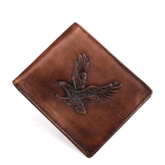 Eagle Pattern Brush color Wallet for Men in business office travel made of genuine cowhide leather - zavitoro