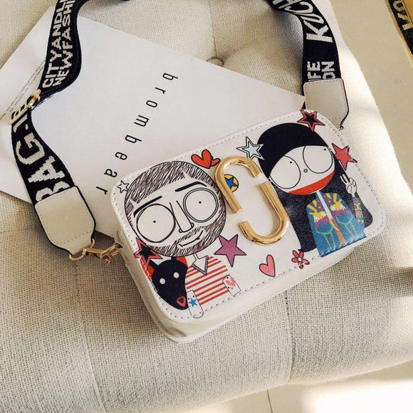 Clutch purse shoulder bag Cute Fun Cartoon Print handbag side purse shoulder bag Women Hot Girls Fashion Small Square Wild Messenger Bags Personality - zavitoro.myshopify.com