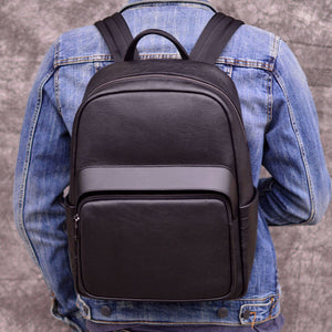 Backpack Men Women bag Offcie Business school college backpacks Outdoor leisure men's backpack leather shoulder bag first layer leather travel computer bag - zavitoro